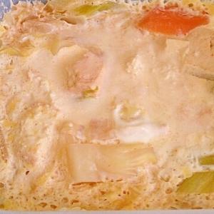 あまったスープや鍋で☆一人のルクエ、卵とじ