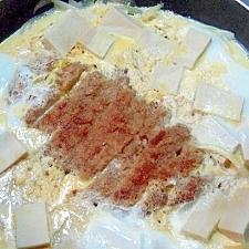 高野豆腐とトンカツの玉子とじ