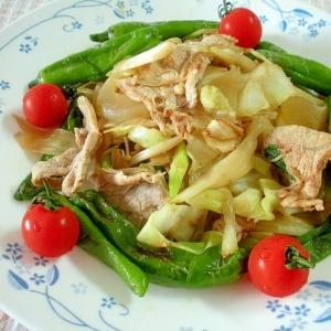 豚肉とキャベツ、ししとうのさっぱり炒めわさび風味