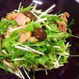 簡単レシピ☆カリカリベーコンとしめじの水菜サラダ☆