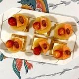 クリームチーズ、メロン、キウイのカナッペ