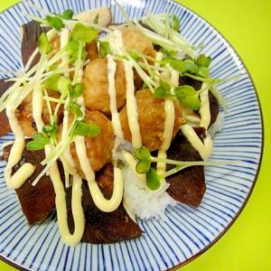 つくね団子と焼き椎茸の丼