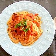 茄子のトマトソーススパゲッティ!