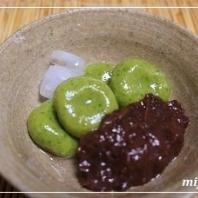 ヘルシースィーツ♪かぶの葉と豆腐の白玉