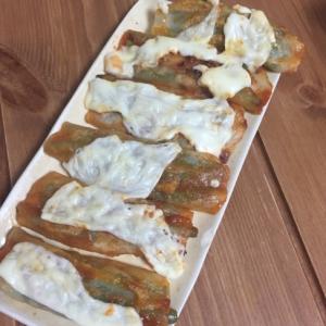 インゲンの餃子の皮巻きケチャップ味