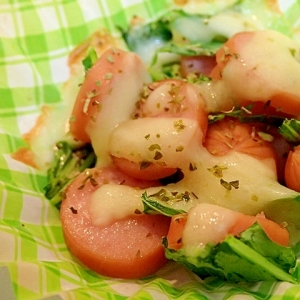 お弁当に ❤水菜とウインナーのトースター焼き❤