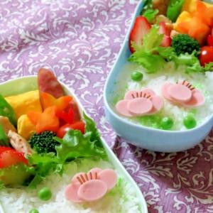 簡単キャラ弁☆魚肉ソーセージDE梅の花のお弁当♪
