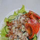 きゅうりとレタスのチーズ納豆サラダ