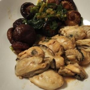 牡蛎と干し椎茸のソテー