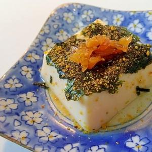 のりたまかけて 味付け海苔と福神漬けの卵豆腐