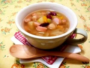 圧力鍋で★具沢山お豆の食べるスープ