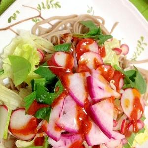 野菜いっぱい!ヘルシーでおいし!韓国風サラダ蕎麦