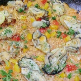 お鍋一つですべて出来ます、牡蠣のパエリア風