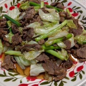 焼き肉のたれで味付け!牛肉とニンニクの芽の野菜炒め