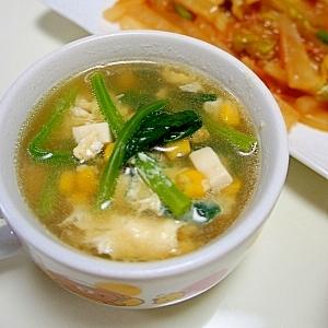 とうもろこしとホウレンソウの中華スープ