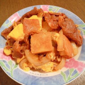 高野豆腐と玉ねぎのジンギスカン丼