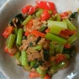 小松菜とパプリカとシーチキンの炒め物