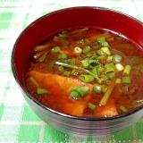 小松菜と油揚げのお味噌汁(赤だし)