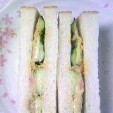 ツナキュウリと焼き海苔の カレー味のサンドイッチ