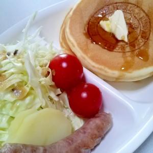 ホットケーキ★キャベツ★ソーセージプレート