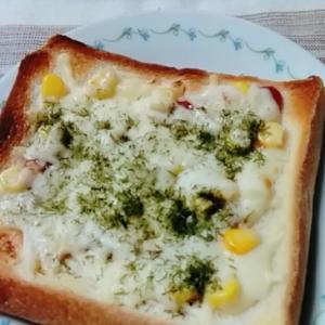 トマト×コーン×青海苔のトースト