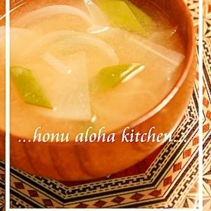 玉葱とインゲンと大根の味噌汁