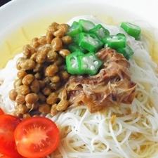 納豆とオクラのねばねばぶっかけ素麺^^