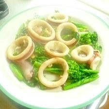 菜の花とイカのオリーブオイル炒め