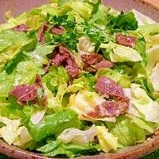 葱塩風味☆砂肝とレタスのサラダ