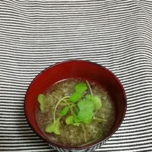 つまみ菜ととろろ昆布のすまし汁