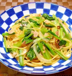 小松菜とベーコンのパスタ
