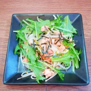水菜ともやしと鮭のほぐし身の和風サラダ