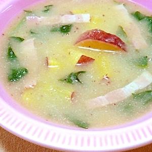 さつまいもの白みそスープ
