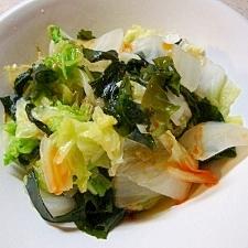 白菜とわかめのピリ辛レンジ煮