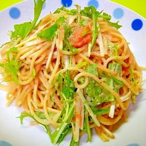 水菜と明太子の麺つゆマヨパスタ