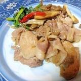 キノコ酵素で柔か魔法♪豚生姜焼き+舞茸(エリンギ)