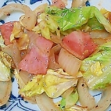 春キャベツと新玉ねぎとベーコンの塩胡椒炒め