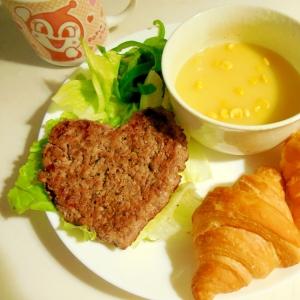 肉バーグとスープのワンプレート