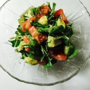 トマト&アボカド&水菜のマリネ風サラダ
