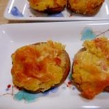 トースターde★じゃが芋、ベーコンの椎茸チーズ焼き