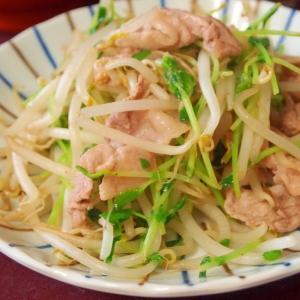 豆苗と豚肉のササッと炒め