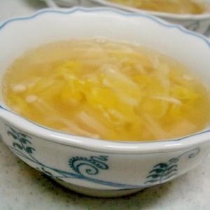 エノキと春キャベツの中華スープ