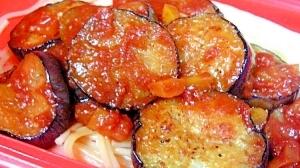 ルクエで茹でるパスタ、茄子とトマトソースがけ