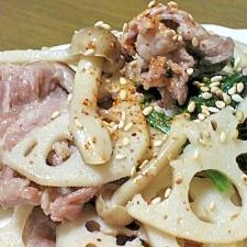 塩麹で簡単☆豚肉切り落としのレンコン炒め