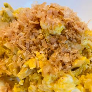 白菜の古漬けをリメイクした卵とじ