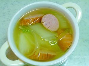 簡単♪ウインナーと白菜と玉ねぎのコンソメスープ