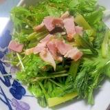栄養たっぷり♪ベーコン&小松菜&水菜の炒め物