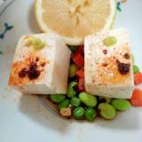ミックスベジ枝豆豆腐山葵ラー油檸檬ポン酢サラダ