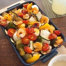 グリラーで海老と野菜のバーニャカウダ