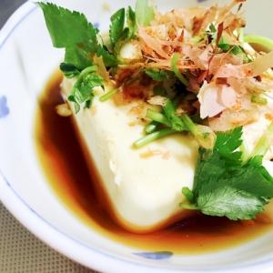 寒いときはあったかく♪三つ葉たっぷり温豆腐